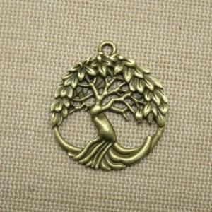 Pendentif arbre de vie ajouré bronze breloque création bijoux bohème