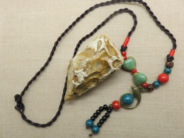 Bohème collier oiseau et perle céramique pour femme - cadeaux pour maman