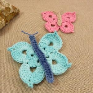 écussons papillon au crochet bleu et rose – lot de 2 patch à coudre