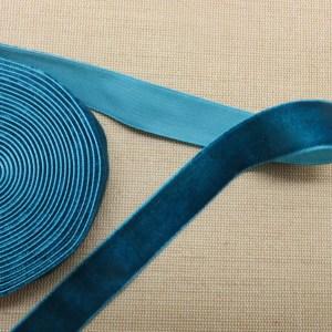 Ruban velours bleu vert 16mm – vendu par 2 mètres