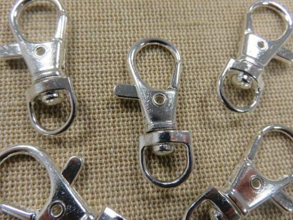 Porte-clés mousquetons argenté 37mm avec anneaux pivotant - lot de 5