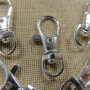 Porte-clés mousquetons argenté 37mm avec anneaux pivotant – lot de 5
