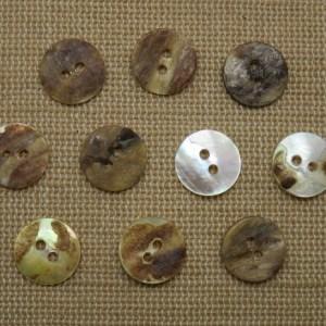 Boutons rond coquillage nacré 11mm – lot de 10 boutons de couture