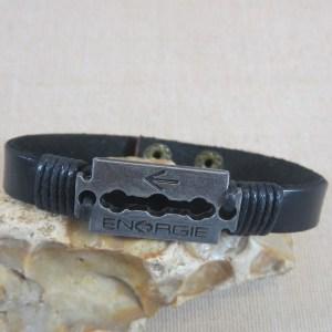 Bracelet cuir punk lame de rasoir gravé Energie – bijoux cadeaux homme
