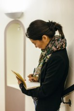Samantha Huang checking out the space at Waterstones