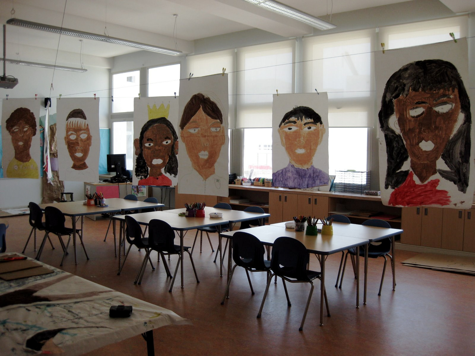 Giant self portraits in grade four