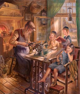 Jewish Shoemaker, Painting by Alex Levin