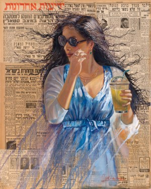 Lady in Blue, Painting by Alex Levin