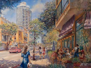 Light of Tel Aviv, Painting by Alex Levin