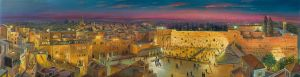 Old City of Jerusalem at Night, Painting by Alex Levin