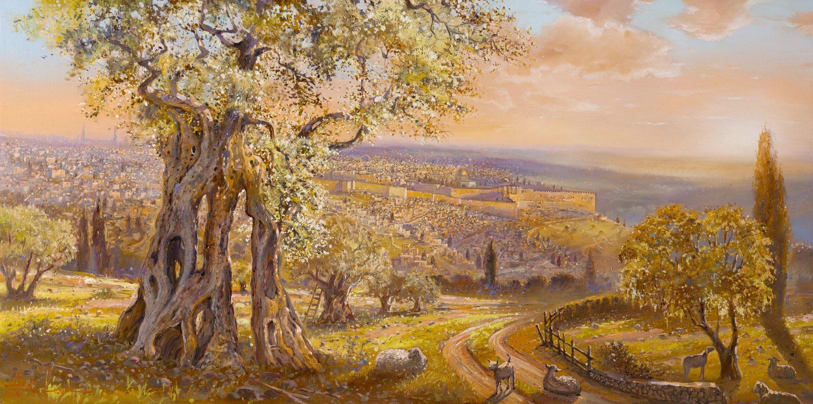 Old Jerusalem Behind The Olive Tree Alex Levin