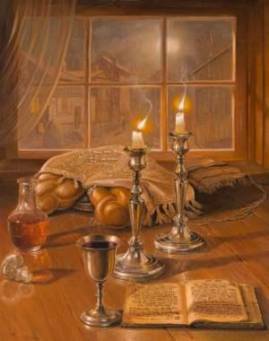 Shabbat Shalom, Painting by Alex Levin