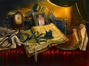 Still Life, Jewish Attributes, Painting by Alex Levin