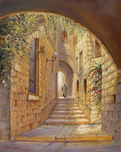 Street in the old City. Artwork by Alex Levin, Israel.