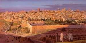 Alex Levin - Sunset covering the Jerusalem. Artwork by Alex Levin.