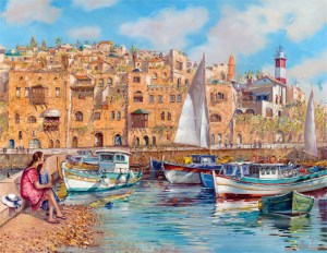 Summer day in Jaffa, Painting by Alex Levin