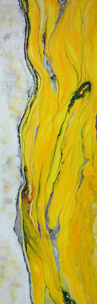 """Original oil painting or fine art giclee titled """"The Pursuit of Happiness"""" in cheerful yellow and white with touches of gray by artist Brenda Salamone"""