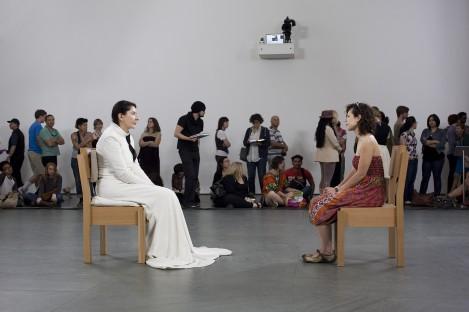 Marina Abramovic's contemporary performance at the MoMA.