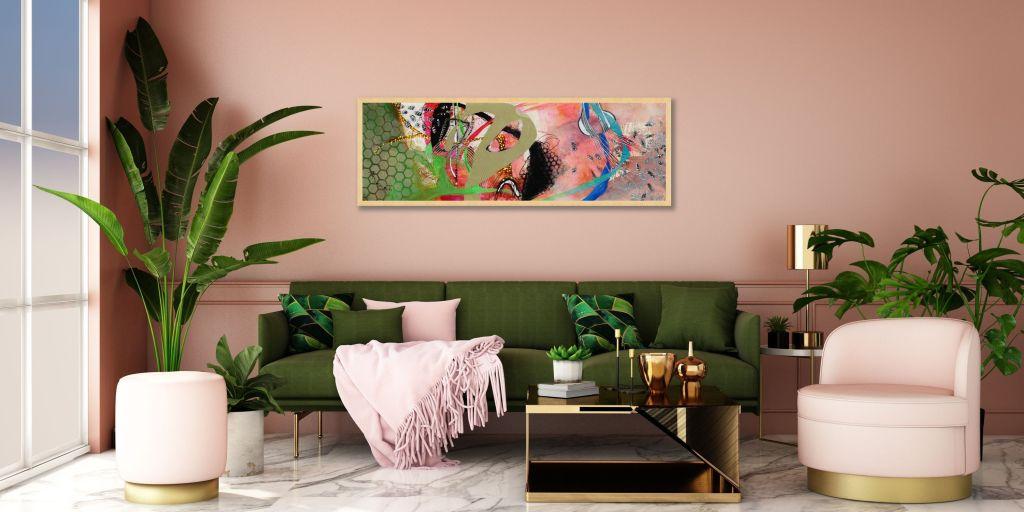 Art Deco Living Room with Alejandro Martinez-Pena's artwork