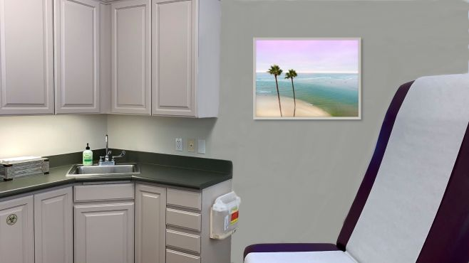 Aesthetic Clinic Exam Room with Calming Landscape Artwork by Photographer Kerry Stitt