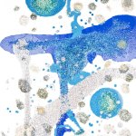 Abstract art using oil and glitter in white, blue and green
