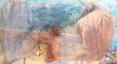 An oil and acrylic painting of a dreamscape in which a minotaur dreams of his chilehood