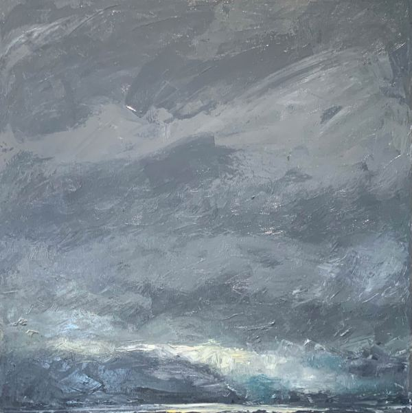 oil painting of stormy sky in Todos Santos Mexico