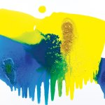 Yellow, blue, green and white contemporary abstract art
