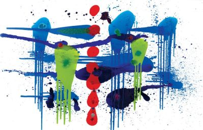 Abstract fine art in blue, white, green and red