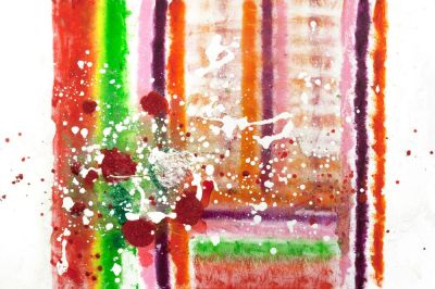 Abstract art in red, yellow, green, orange white and magenta titled the blanket