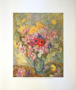DE MORNAC - FLOWERS IN A BLUE VASE (LITHOGRAPH)