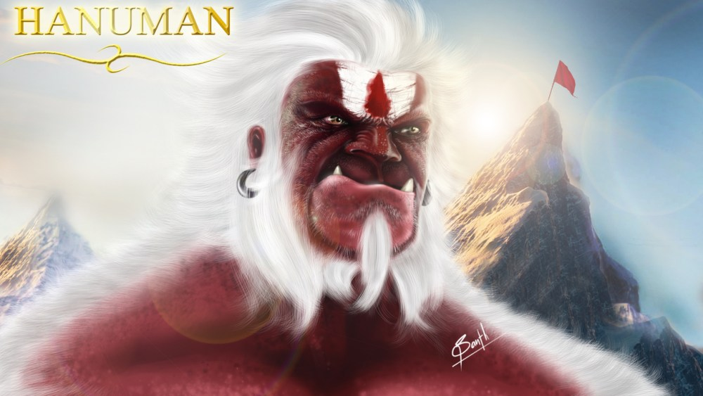 Hanuman Digital Paint by Santh Thapa