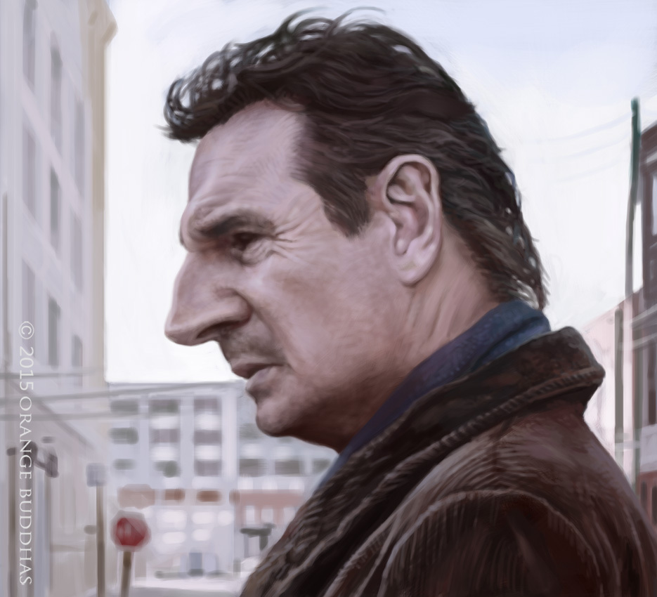 Liam Neeson Caricature by orange buddhas