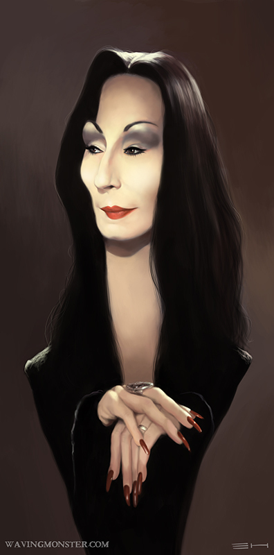 Morticia caricature by Emily Hare