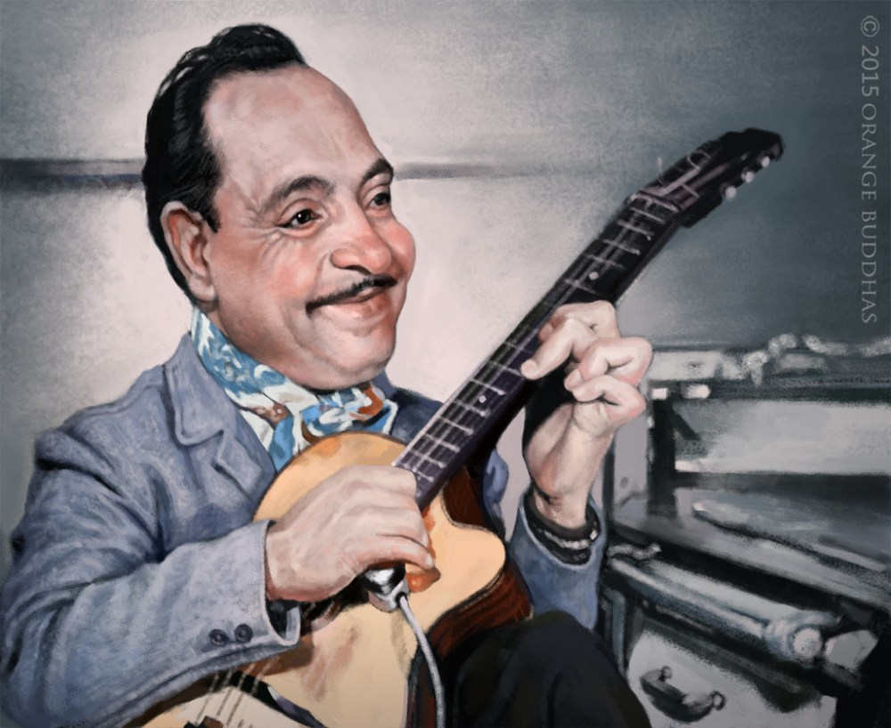 Django Reinhardt caricature by orange buddhas
