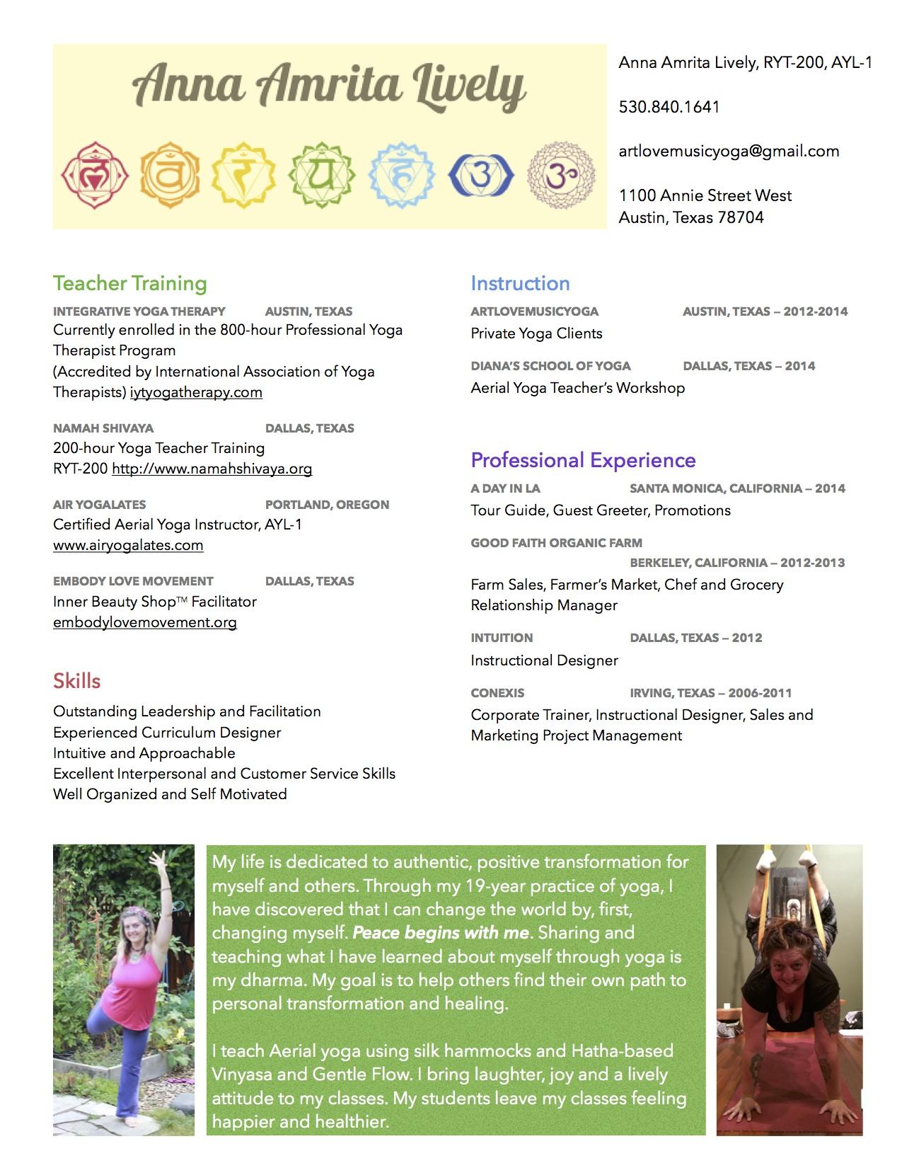 Yoga Instructor Resume Objective Curriculum