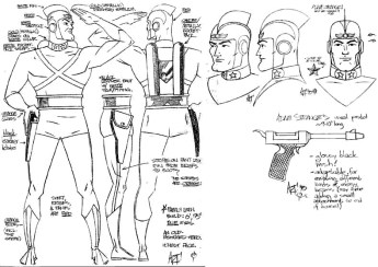 "Character design/style sheet for DC Comics character ""Adam Strange"""