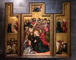 """Anežský klášter """"Očím na odiv"""", Oltář se Smrtí Panny Marie, kolem 1470"""