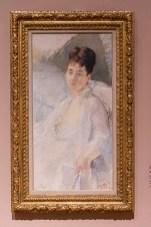 EVA GONZALES, olej, uhel, plátno, 1877- 1878