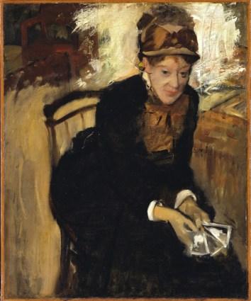 Edgar Degas: Mary Cassatt kártyákkal a kezében, 1876-1878