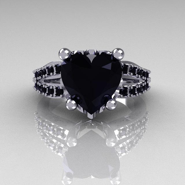 Modern French Bridal 18K White Gold 30 Carat Heart Black
