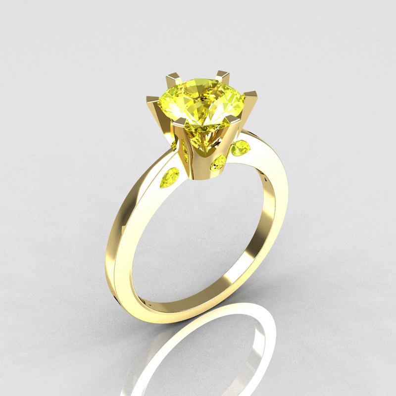 French 10K Yellow Gold 15 Carat Yellow Sapphire Designer