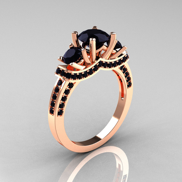 French 18K Rose Gold Three Stone Black Diamond Wedding