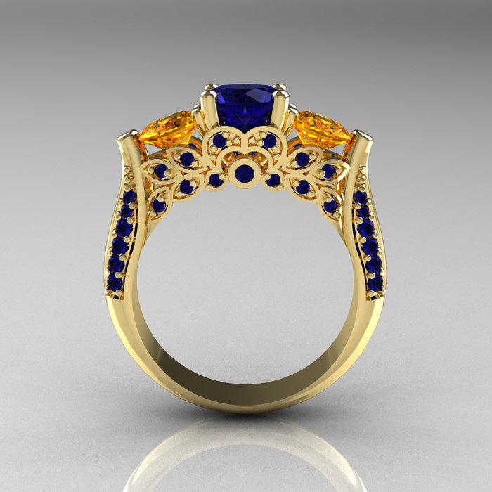 Classic 14K Yellow Gold Three Stone Blue Sapphire Citrine