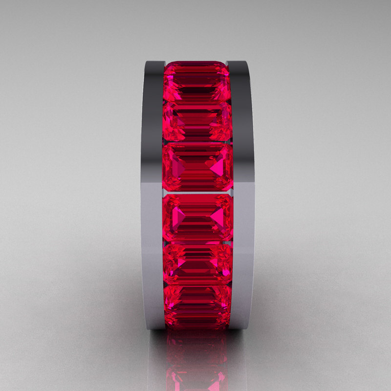 Mens Modern 10K White Gold Ruby Channel Cluster Infinity