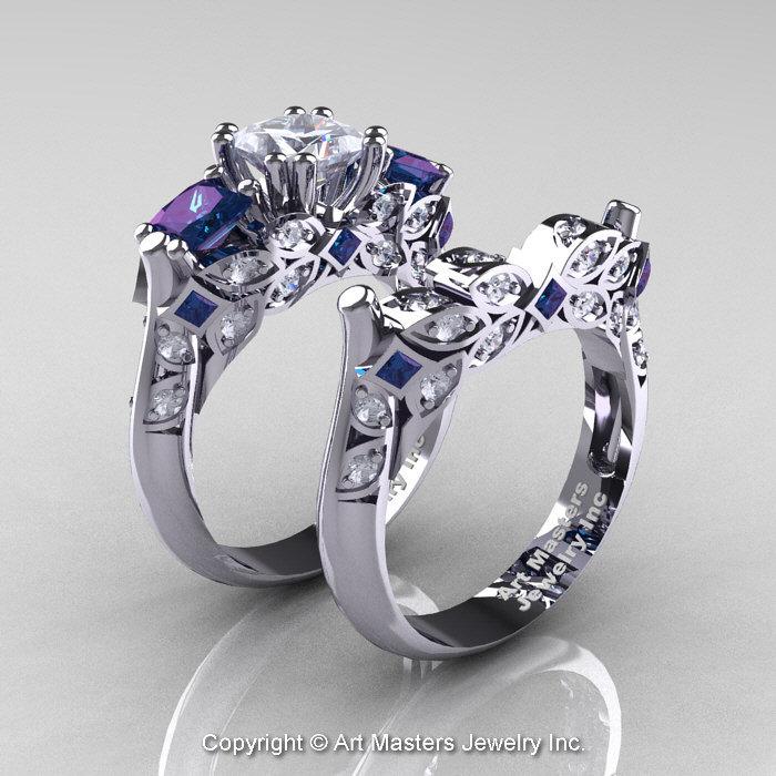 Classic 14K White Gold Three Stone Princess White Sapphire