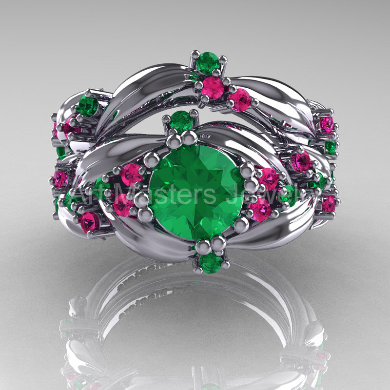 Nature Classic 14K White Gold 10 Ct Emerald Pink Sapphire