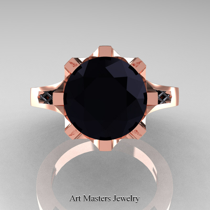 Modern Renaissance 14K Rose Gold 30 Carat Black Diamond