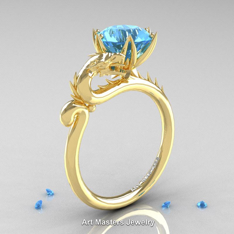 Art Masters 14K Yellow Gold 30 Ct Paradise Blue Topaz