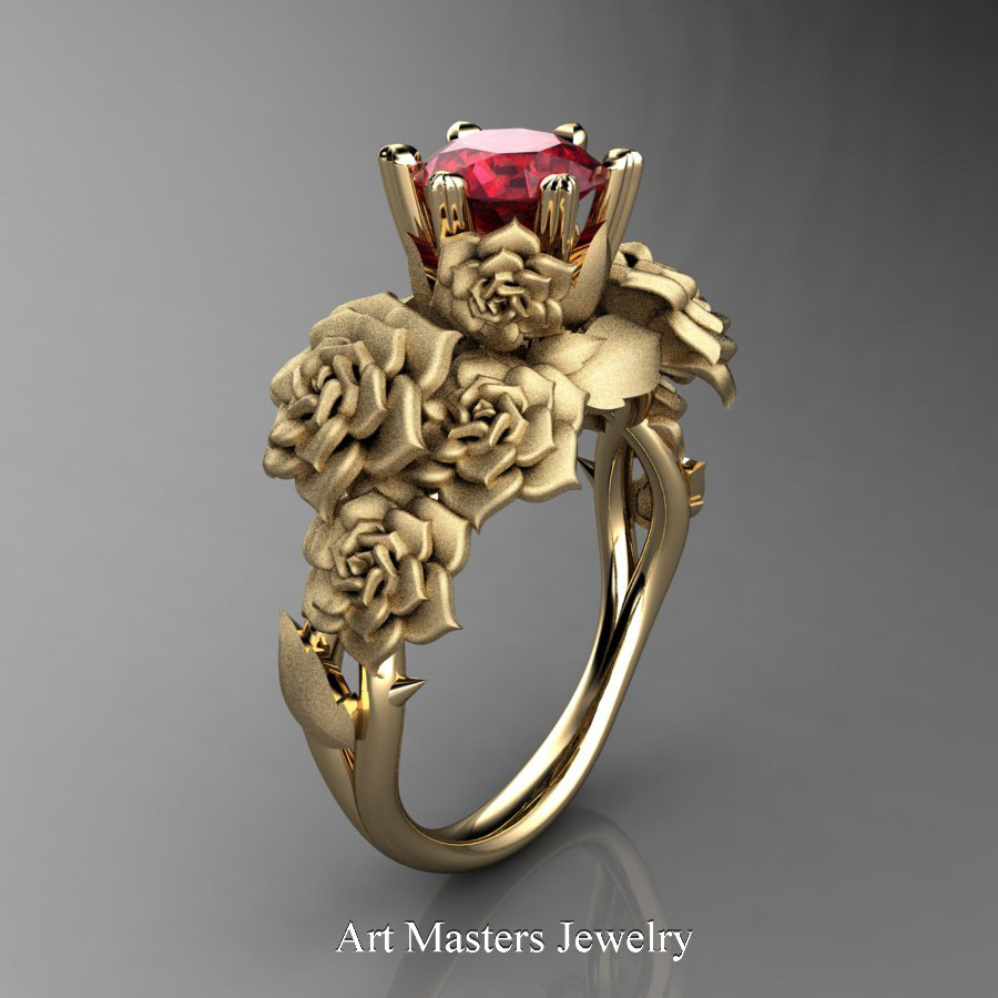 Nature Inspired 14K Yellow Gold 10 Ct Ruby Rose Bouquet